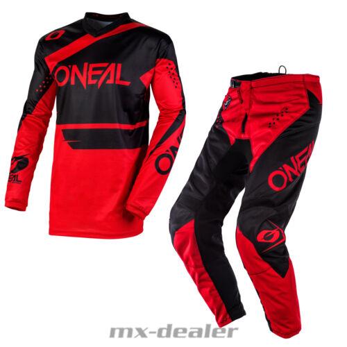2020 O /'Neal Element Racewear Rosso Nero Pantaloni JERSEY MX Motocross Enduro Combo