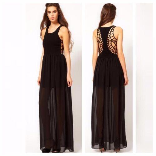 Keepsake Spider Web Back Sheer Skirt Maxi Dress