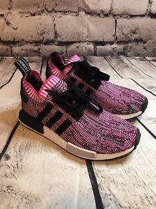 Detalles de Adidas para mujer NMD R1 Primeknit Running Shoe Adidas Originals Rosa Negro Blanco ver título original