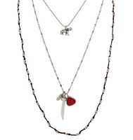 Lucky Brand Layers Elephant Horn Red Stone Charm Silver-tone Long Necklace