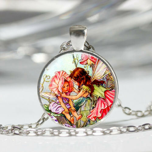 Fairy Tibet silver Dome Glass Cabochon Necklace chain Pendant #118
