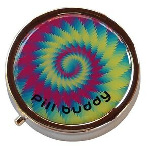 Hippie-Tidal-Wave-Vortex-Round-Three-Compartment-Metal-Travel-Pill-Box-Case