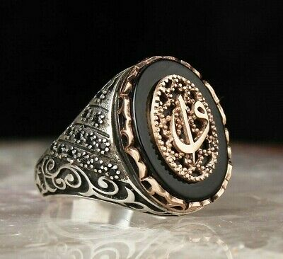 turkish jewelry 925 Sterling Silver Elite black onyx Mens Mans ring ALL SİZE usa
