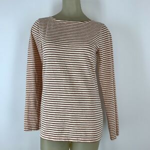 J-Crew-Woman-shirt-top-Tee-Copper-striped-knit-cotton-Size-medium