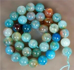 Natural-10mm-Blue-Multi-Color-Dragon-Veins-Agate-Round-Gems-Loose-Beads-15-034-AAA