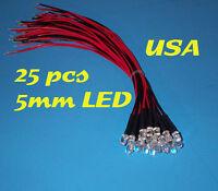 25 Pcs Led - 5mm Pre Wired Leds 12 Volt Red 12v Prewired