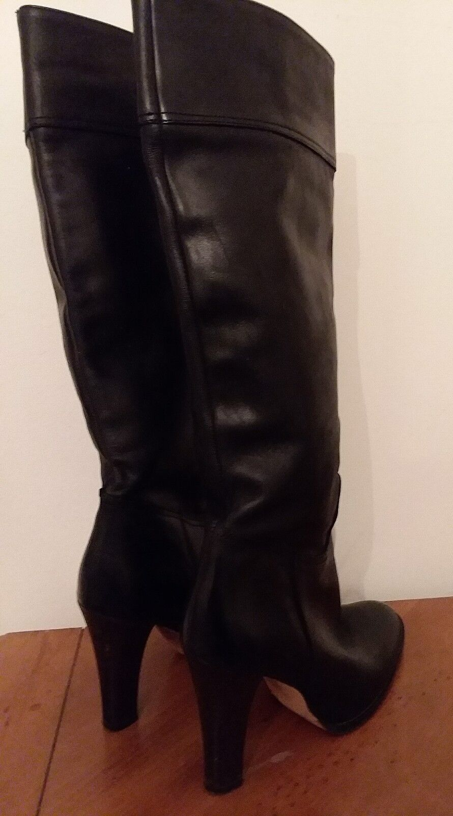 J.Crew Black Leather Knee High Block Heel Boots