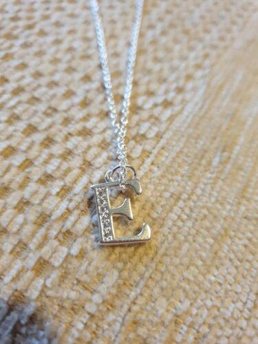 925 sterling silver letter E necklace pendant