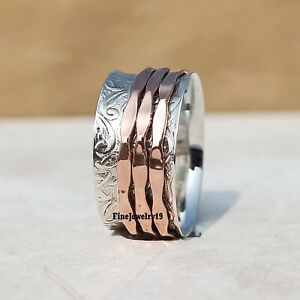 925-Sterling-Silver-Spinner-Ring-Wide-Band-Meditation-Statement-Jewelry-A180