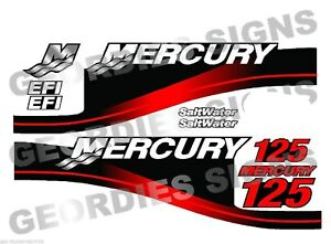 RED MERCURY 175 OUTBOARD MOTOR PRINTED STICKERS KIT ENGINE