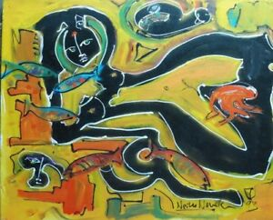 NUDE-W-FISH-PAINTING-BY-NEITH-NEVELSON-GRAND-DAUGHTER-TO-LOUISE-NEVELSON