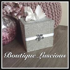 DIAMANTE SILVER CRYSTAL BLING WOOD TISSUE MAKE UP BOX DRESSING TABLE NEXT DAY