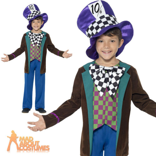 Kids Mad Hatter Costume Boys Fancy Dress Alice Tea Party Childs Book Week Outfit