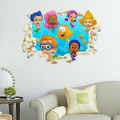 Bubble Guppies Smashed Wall Sticker Crack Kids Bedroom Decal Gift | eBay