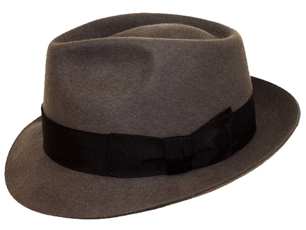 Herren 100% Wolle Handgefertigt Grau Manhattan Filzhut Fedora Mit Breites Band