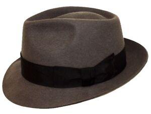 9ecb07f05ab2 Detalles de Hombre 100% Lana Hecho a Mano Gris Manhattan Fedora de Fieltro  Sombrero Trilby