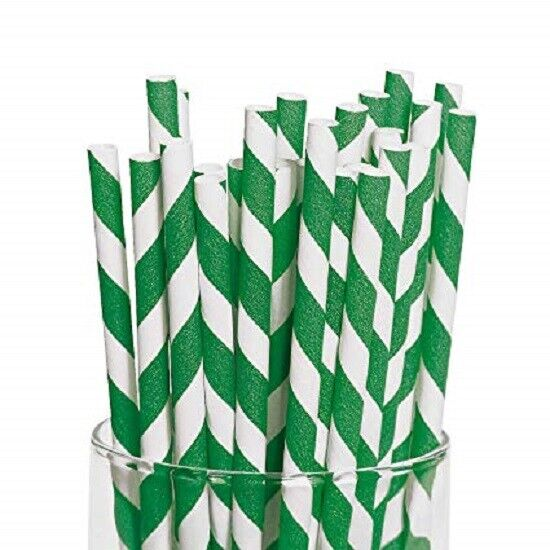 Grün And Weiß Striped Paper Straws 8  (20cm) Biodegradable Compostable 6mm Dia