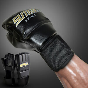 Muay-Thai-MMA-Half-Mitts-Sparring-Boxing-Gloves-Grappling-Punching-Bag-Training