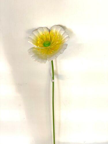 """HOME GARDEN YARD POOL DECOR NEW WHITE FLOWER STAKE 714673 POPPY 22/"""" LONG"""
