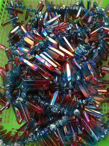 50g-6-9pcs-Rainbow-AURA-FLAME-Titanium-Seed-Quartz-Crystal-POINT-Healing