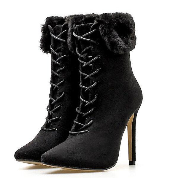 bottes stivaletti stiletto noir comodi eleganti 11 cm pelle sintetica 1403