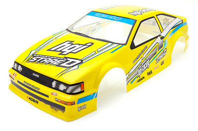 RCG Racing Toyota AE86 Levin 1/10th RC Car Body Shell Yellow 190mm S019Y