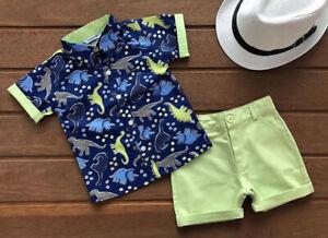 US-2pcs-Toddler-Kids-Baby-Boys-Dinosaur-Clothes-T-shirt-Tops-Shorts-Pants-Outfit