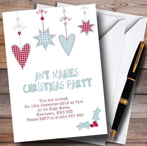 Red /& blue hearts personnalisé noël party invitations