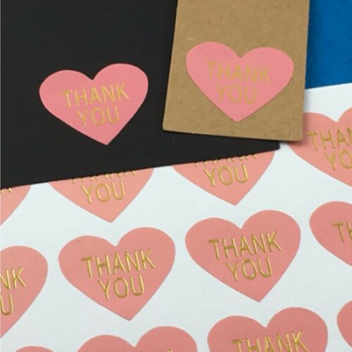Heart Paper Labels THANK YOU PINK /& GOLD Gift Food Craft Stickers Seals Scraping