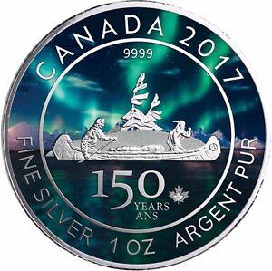 Kanada-5-Dollars-2017-Kanu-150-Jahre-Canada-Voyageur-Silber-Anlagemuenze-in-Farbe