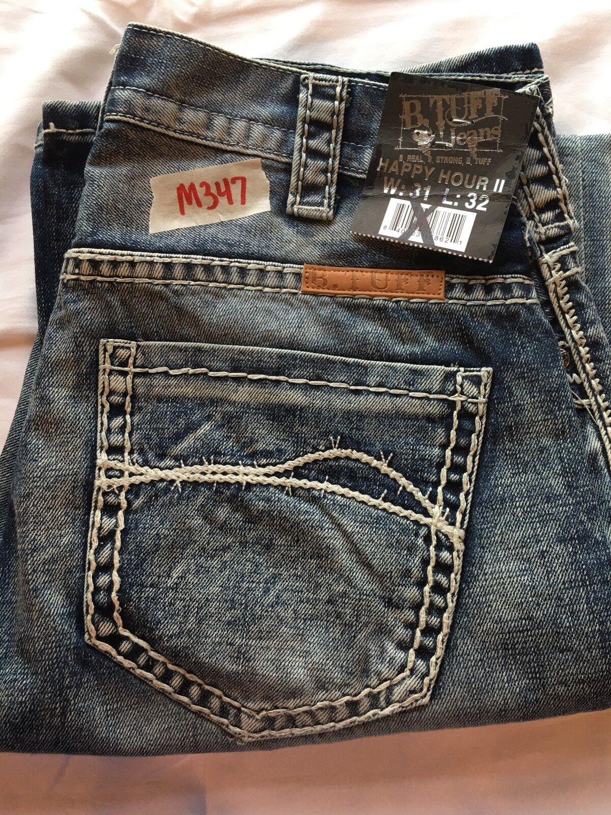 Mens New B Tuff 31X32 Happy Hour II Mid Rise Boot Cut Distressed Jeans