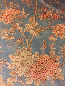 Gp J Baker Floral Upholstery Fabric Canton Velvet Slate Blue By The