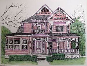 Pink Victorian House 8x10 Art Reproduction Artist Ink