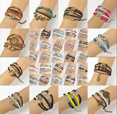 New fashion Cute Infinity Leather Friendship Charm Statement Bracelet Jewellery