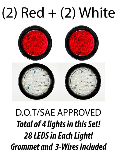 2x 4inch Red Round Cree 12 Led Signal Reverse Tail Lights