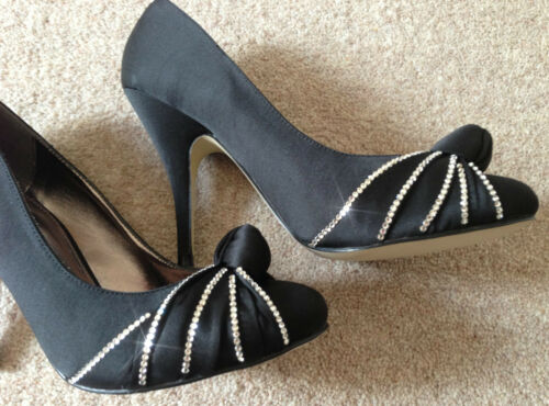 Swarovski Black Ladies With Satin Elements Crystal Detail Shoes Knot Court Made gPzPx6q