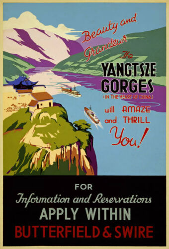 TA24 Vintage China Chinese Yangtsze Travel Poster Print A1 A2 A3