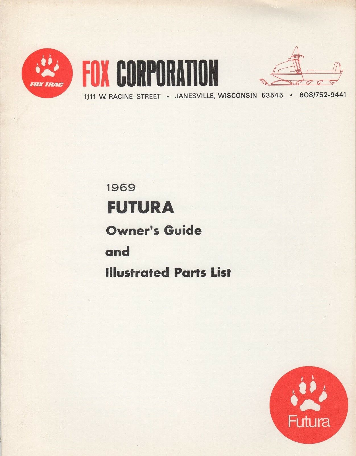 VINTAGE 1969 FOX FUTURA SNOWMOBILE OWNER & PARTS  MANUAL (768)  hot sale