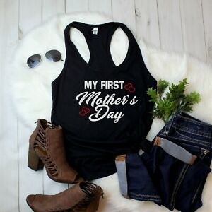 Women-039-s-Tank-Top-My-First-Mother-039-s-Day-Shirt-1st-Mothers-Day-Gift-Tee-Outfit-Mom