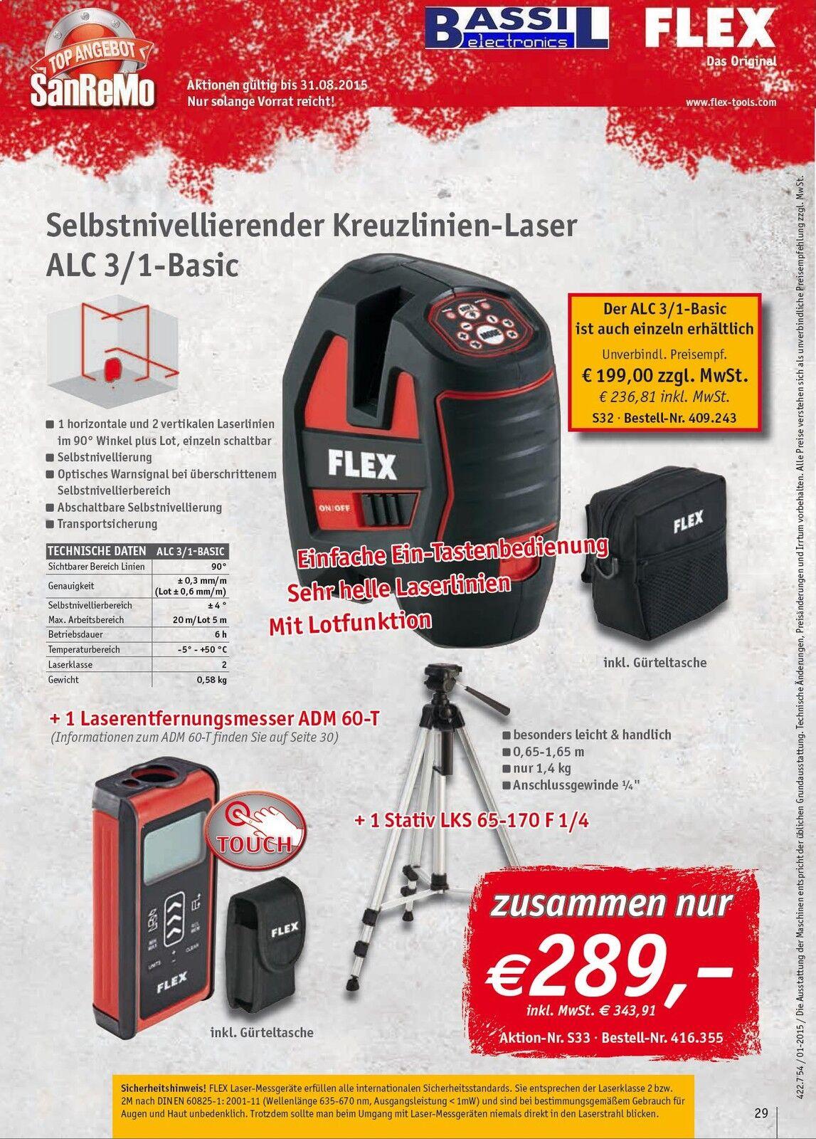 Flex Selbstnivellierender Kreuzlinien-Laser ALC 3 1+Laserentfernungsmesser ADM 6