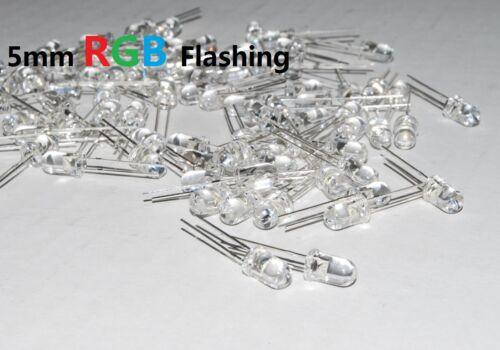 100 PCS 5MM RGB Red Green Blue Fast /& Slow Flash LED Lamps Rainbow Blink A242