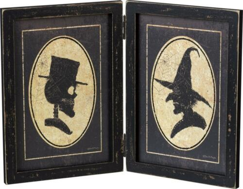 Primitive Wood Halloween Skeleton And Witch Hinged Wood Frame