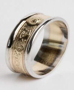 Gents-14K-Gold-Celtic-Irish-Handcrafted-Wedding-Anniversary-Ring-9mm