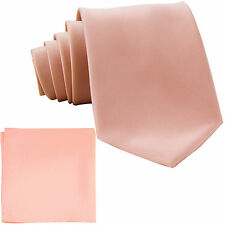 New Polyester Men's Neck Tie & hankie solid formal wedding prom mauve dusty pink