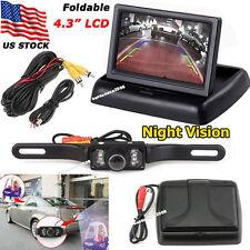"License Plate 7LEDs IR Reversing Rear View Camera +Foldable 4.3"" TFT LCD Monitor"