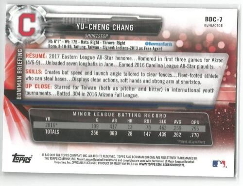 Yu-Cheng Chang Cleveland Indians 2017 Bowman Draft Chrome Refractor