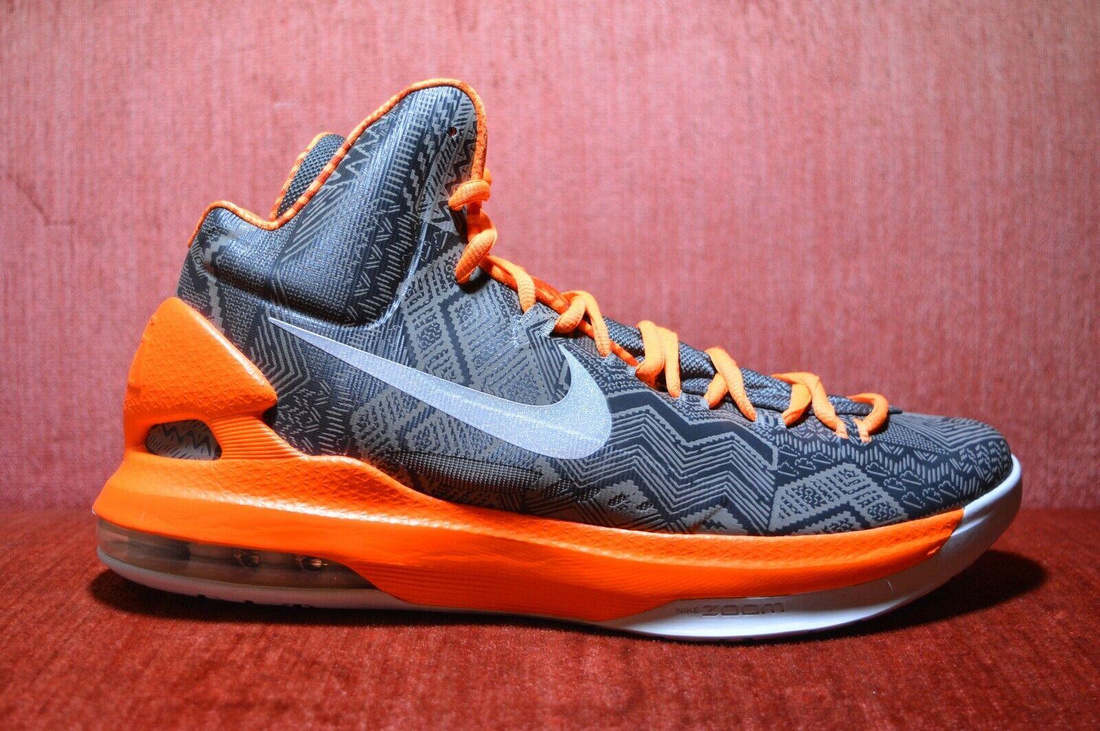 WORN ONCE Nike KD BHM Kevin Durant 5 583107-001 Size 10 Antracite Black orange