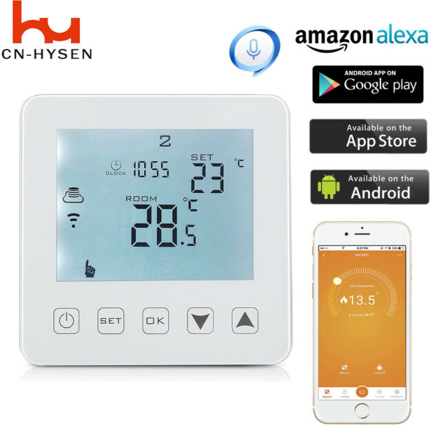 HY08WE-4 WiFi Thermostat Electric Heating Touch Screen Digital Wireless Alexa