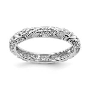 Sterling-Silver-Rhodium-plated-Patterned-Floral-Stackable-Ring-Band-Size-5-10