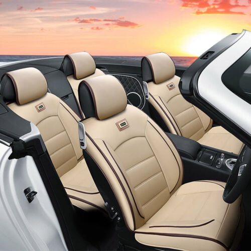 Deluxe PU leather Car Seat Cover Full Front+Rear Cushion 5-Seats W//Pillow Beige
